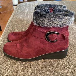 Patrizia suede fur lined booties; size 7